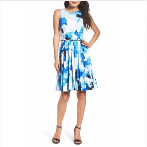 d052c92930cae Maggy London Pleated Fit   Flare Sleeveless Dress